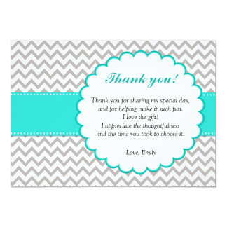 Chevron Turquoise Thank You Card 13 Cm X 18 Cm Invitation Card