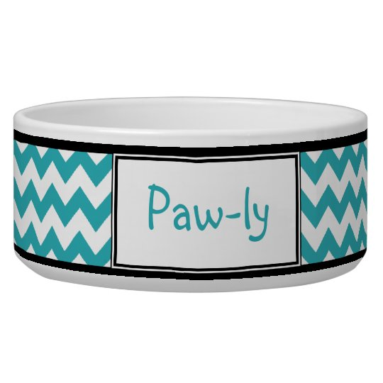 Chevron Turquoise & White Personalised Dog Bowl