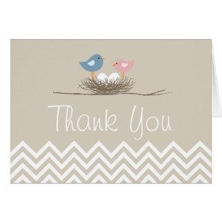 Chevron Twin Bird's Nest Thank You Card