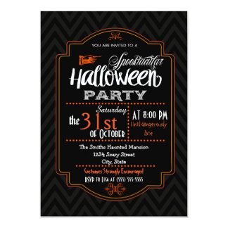 Chevron & Typography Halloween Invitation