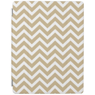 Chevron Wavy Stripes in Christmas Gold & White iPad Cover