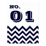 Chevron Wedding Table Number Cards Postcard