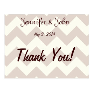 Chevron Wedding Thank You Cards Postcard