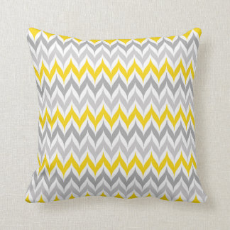 Chevron Wing Stripe Pattern Yellow and Grey Throw Cushion