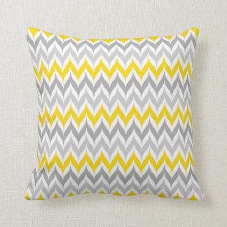 Chevron Wing Stripe Pattern Yellow and Grey Throw Pillow