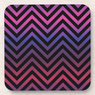 Chevron with Pink Purple and Black Beverage Coaster