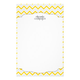 Chevron Yellow and Modern Personalized Stationery Paper