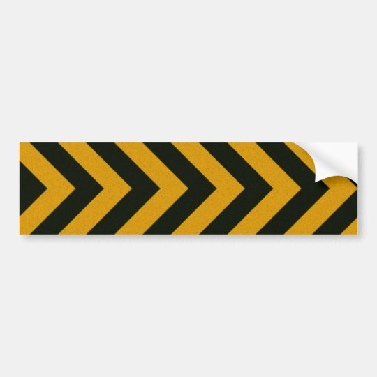 Chevron Yellow Black Hazard Stripes Bumper Sticker