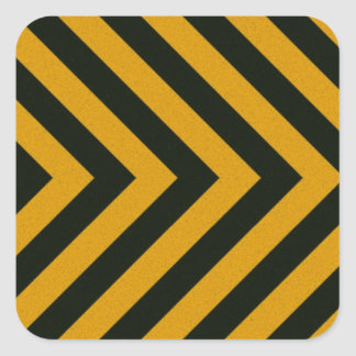 Chevron Yellow Black Hazard Stripes Square Sticker