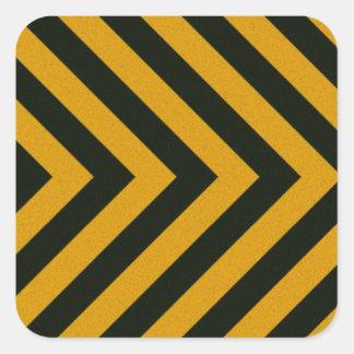 Chevron Yellow Black Hazard Stripes Square Sticker