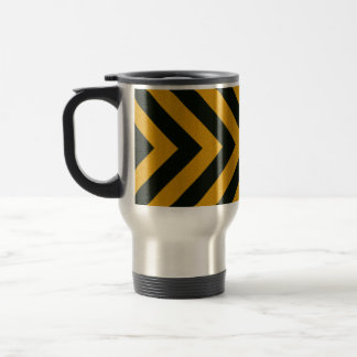 Chevron Yellow Black Hazard Stripes Travel Mug
