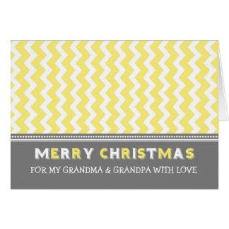 Chevron Yellow Grandparents Merry Christmas Card