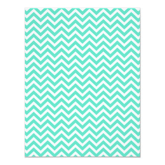 Chevron Zig Zag in Tiffany Aqua Blue 4.25x5.5 Paper Invitation Card
