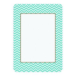 Chevron Zig Zag in Tiffany Aqua Blue 4.5x6.25 Paper Invitation Card