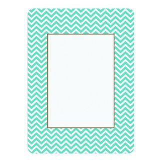 "Chevron Zig Zag in Tiffany Aqua Blue 5.5"" X 7.5"" Invitation Card"