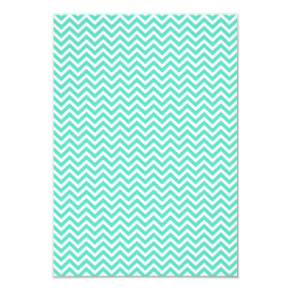 Chevron Zig Zag in Tiffany Aqua Blue 3.5x5 Paper Invitation Card