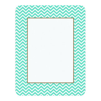 "Chevron Zig Zag in Tiffany Aqua Blue 4.25"" X 5.5"" Invitation Card"