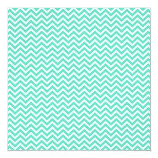 """Chevron Zig Zag in Tiffany Aqua Blue 5.25"""" Square Invitation Card"""