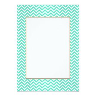 Chevron Zig Zag in Tiffany Aqua Blue 5x7 Paper Invitation Card