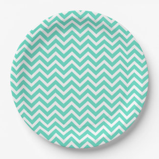 Chevron Zig Zag in Tiffany Aqua Blue Paper Plate
