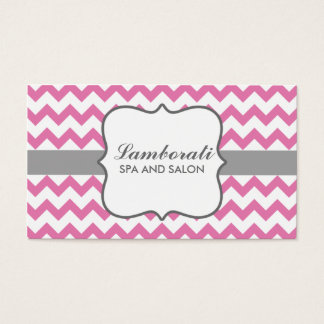 Chevron Zig Zag Pattern Elegant Modern Pink Business Card