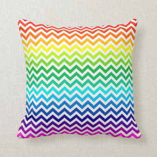 Chevron Zig Zag Pattern in Bright Rainbow Colors Cushion