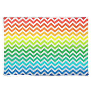 Chevron Zig Zag Pattern in Bright Rainbow Colors Placemat