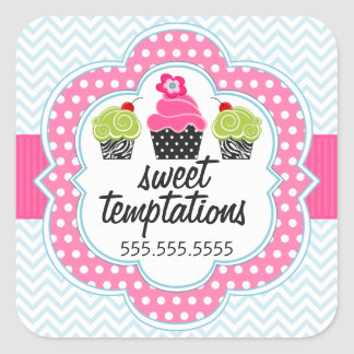 Chevron Zigzag Cupcake Bakery Business Square Sticker