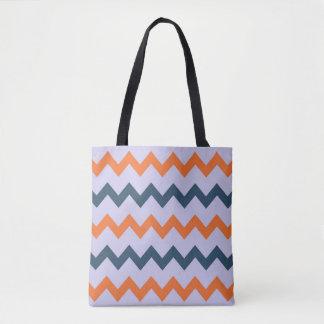 Chevron zigzag design dark blue orange on lilac tote bag