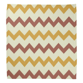 Chevron zigzag design natural brown green yellow bandanna