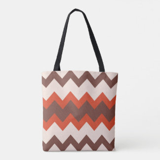 Chevron zigzag design red pink brown tote bag