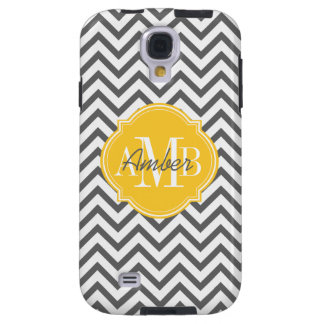 Chevron Zigzag Gray Pattern Monogram Galaxy S4 Case