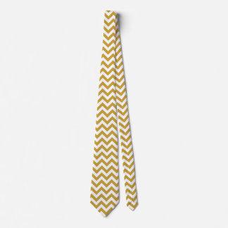 Chevron Zigzag Lines Satin Sheen Gold Tie