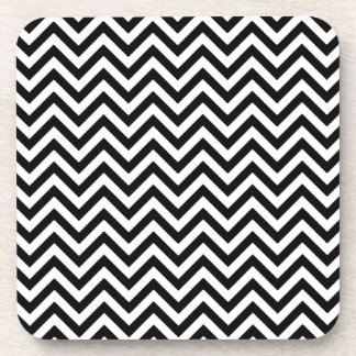 Chevron Zigzag Pattern Black and White Beverage Coaster