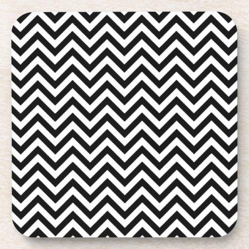 Chevron Zigzag Pattern Black and White Drink Coasters