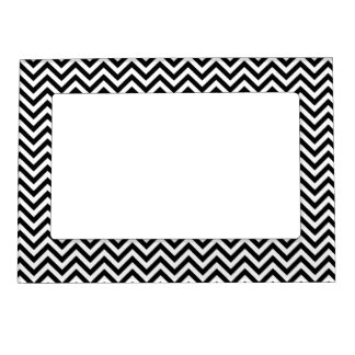 Chevron Zigzag Pattern Black and White Magnetic Picture Frame