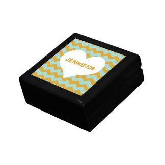 Chevron zigzag pattern heart custom name yellow small square gift box