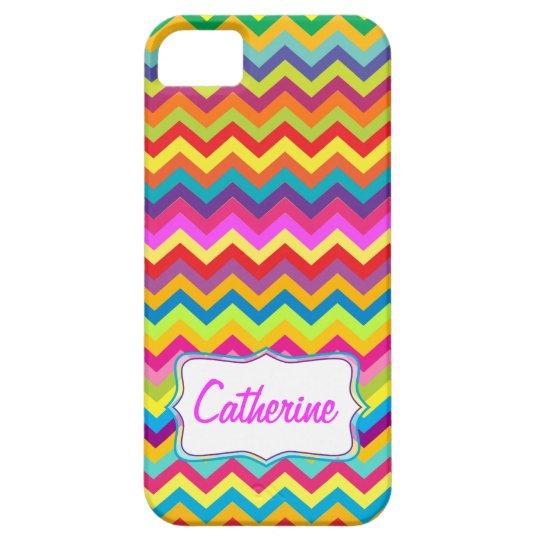 Chevron zigzag pattern multi-coloured iphone case