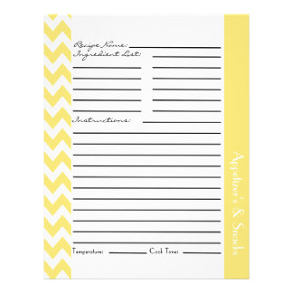 Chevron Zigzag Striped Recipe Sheets - Lemon 21.5 Cm X 28 Cm Flyer