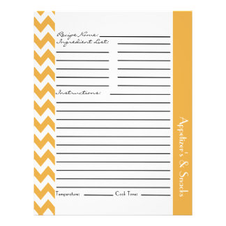 Chevron Zigzag Striped Recipe Sheets - Yellow 21.5 Cm X 28 Cm Flyer