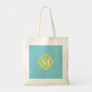 Chevron Zigzag Stripes with Monogram Tote Bag