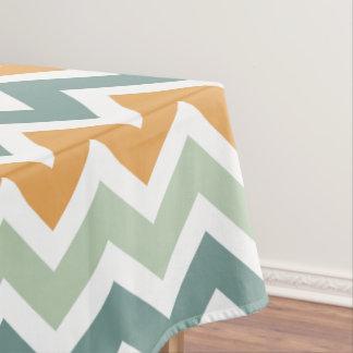 Chevron Zigzag Teal Green Mint Orange Tablecloth