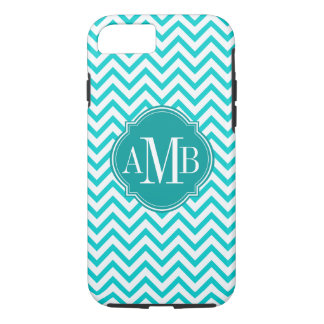 Chevron Zigzag Turquoise Pattern Monogram iPhone 8/7 Case