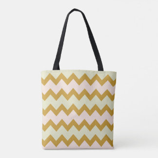 Chevron zigzag yellow ochre pastel pink green tote bag