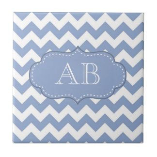 Chevrons and Stitched Label Blue Small Square Tile
