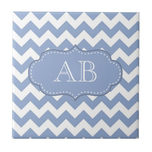Chevrons and Stitched Label Blue Ceramic Tile