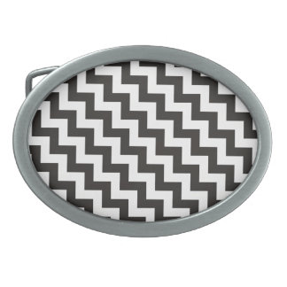 Chevrons Belt Buckle with Black and White Zigzags