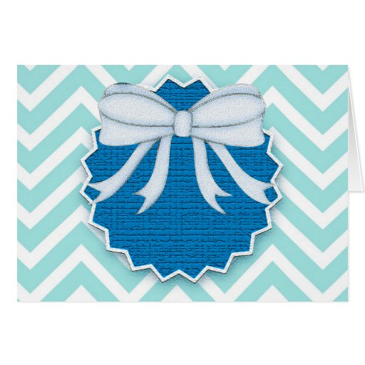 Chevrons Pattern Blue Bow Tie Office Party Destiny Greeting Cards