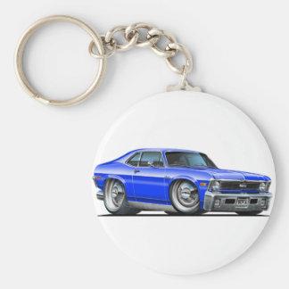 Chevy Nova Blue Car Basic Round Button Key Ring