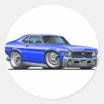 Chevy Nova Blue Car Classic Round Sticker